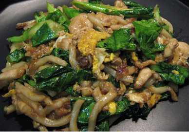 สูตรวิธีการทำอาหารไทย-เส้นอูด้งผัดซีอิ๊วไก่