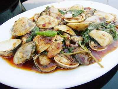 สูตรวิธีการทำอาหารไทย-หอยลายผัดน้ำพริกเผา