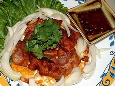 สูตรวิธีการทำอาหารไทย-ยำไข่ดาวเบคอน
