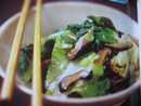 ผักผักน้ำปลาเห็ดหอมแห้ง